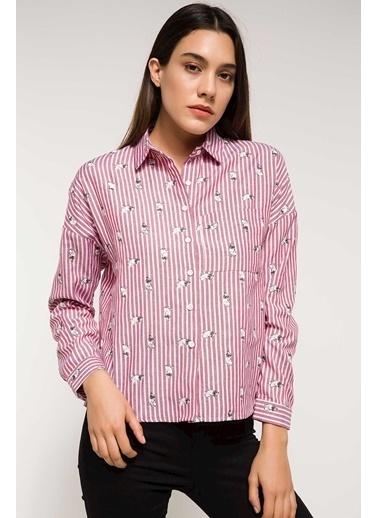 DeFacto Uzun Kollu Çizgili Gömlek Kırmızı